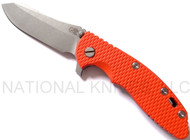 "Rick Hinderer Knives XM-18 Skinner Folding Knife, Working Finish 3.5"" Plain Edge S35VN Blade, Working Finish Lock Side, Bronze Clip/Tab, Orange G-10 Handle"