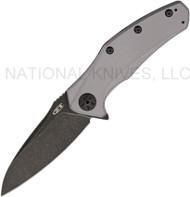 """Zero Tolerance ZT 0770GRYBW  Assisted Opening Knife, Blackwash 3.25"""" Plain Edge Blade, Gray Aluminum Handle"""