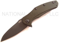 "Zero Tolerance ZT 0770ODBLK  Assisted Opening Knife, Black 3.25"" Plain Edge Blade, Olive Drab Aluminum Handle"