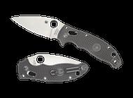 "Spyderco Manix 2 C101PGY2 Folding Knife, 3.375"" Plain Edge Maxamet Blade, Gray FRCP Handle"