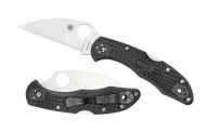 "Spyderco Delica 4 Wharncliffe C11FPWCBK Folding Pocket Knife, 2.875"" Plain Edge Blade, Black FRN Handle"