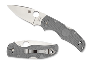 "Spyderco Native 5 C41PGY5 Folding Knife, 3"" Plain Edge Maxamet Blade, Gray FRN Handle"