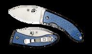 "Spyderco Lil' Lum C205GFBLP Sprint Run Folding Knife, 2.375"" Plain Edge Blade, Blue Nishijin Glass Fiber Handle"