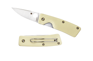"Spyderco Lil' Nilakka C221GPWH Flash Batch Folding Knife, 2.343"" Plain Edge Blade, Ivory G-10 Handle"