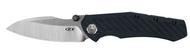 "Zero Tolerance 0850 Folding Knife, 3.75"" Plain Edge Blade, Blue and Black Carbon Fiber Handle"