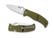 "Spyderco Caribbean Leaf Shape C217GP Folding Knife, 3.687"" Plain Edge Blade, Black and Yellow G-10 Handle"