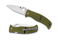 "Spyderco Caribbean Leaf Shape C217GS Folding Knife, 3.687"" Serrated Edge Blade, Black and Yellow G-10 Handle"
