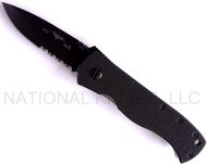 "Emerson Knives CQC-7A BTS Folding Knife, Black 3.25"" Partially Serrated 154CM Blade, Black G-10 Handle, No Wave"