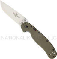 "Ontario RAT 1A 8870OD Assisted Opening Knife, Satin 3.625"" Plain Edge Blade, Olive Drab Handle"