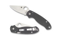 "Spyderco Para 3 C223GPDGY Folding Knife, Stonewash 3"" Plain Edge Maxamet Blade, Dark Gray G-10 Handle"
