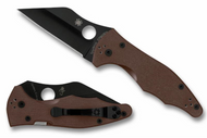 "Spyderco Yojimbo 2 C85GPBNBK2 Folding Knife, Black 3.25"" Plain Edge CPM-S90V Blade, Coyote Brown G-10 Handle"