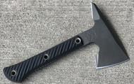 "RMJ Tactical Mini Jenny Tomahawk, 2.687"" Forward Edge 80CRV2, Black Handle, Sheath"