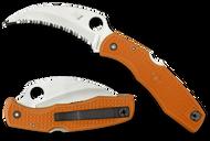 """Spyderco SpyderHawk Salt C77SOR Sprint Run Folding Knife, 3.375"""" Serrated H-1 Blade, Orange FRN Handle"""