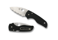 "Spyderco Lil' Native C230GS Compression Lock Folding Knife, Satin 2.437"" Serrated Blade, Black G-10 Handle"