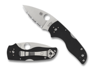 "Spyderco Lil' Native C230MBGS Back Lock Folding Knife, 2.437"" Serrated Blade, Black G-10 Handle"