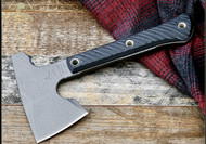 "RMJ Tactical Mini Jenny Hammer Pole Tomahawk, 2.687"" Forward Edge 80CRV2, Black Handle, Sheath"
