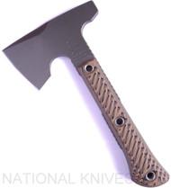 "RMJ Tactical Mini Jenny Hammer Pole Tomahawk, 2.687"" Forward Edge 80CRV2, Hyena Brown Handle, Sheath"