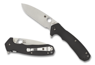 Spyderco Amalgam C234CFP Flipper Folding Knife, Plain Edge Blade, Black Carbon Fiber and G-10 Laminate Handle