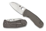Spyderco Techno 2 C158TIP2 Folding Knife, Plain Edge Blade, Titanium Handle