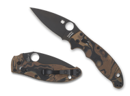 "Spyderco Manix 2 C101MGPBRBBK2 Sprint Run Folding Knife, Black 3.375"" Plain Edge CPM-S90V Blade, Black and Brown Burled G-10 Handle"