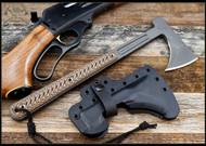 "RMJ Tactical Kestrel Trail Tomahawk, 2.875"" Forward Edge 80CRV2, Hyena Brown Handle, Sheath"