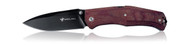 "Steel Will Knives Gekko 1505 Folding Knife, Black 3.968"" Plain Edge D2 Blade, Red Micarta Handle"
