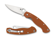 "Spyderco Military C36GPBORE Sprint Run Folding Knife, 4"" Plain Edge CPM Rex 45 Blade, Orange G-10 Handle"