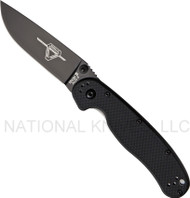 "Ontario RAT 2 8861BP Folding Pocket Knife, Black 2.937"" Plain Edge Blade, Black Handle"