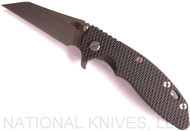 "Rick Hinderer Knives XM-18 Wharncliffe Folding Knife, Stonewashed 3.5"" Plain Edge 20CV Blade, Stonewashed Lock Side, Black G-10 Handle"