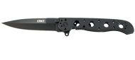 """CRKT Caroson M16-03KS Flipper Folding Knife, 3.562"""" Plain Edge Blade, Black Stainless Steel Handle"""