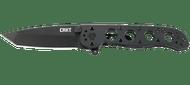 """CRKT Caroson M16-02KS Flipper Folding Knife, 3.062"""" Plain Edge Blade, Black Stainless Steel Handle"""