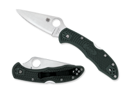 "Spyderco Delica 4 C11PGRE Folding Knife, 2.875"" Plain Edge ZDP-189 Blade, British Racing Green FRN Handle"