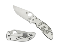 "Spyderco Foundry C160P Folding Knife, 3.312"" Plain Edge Blade, Stainless Steel Handle"
