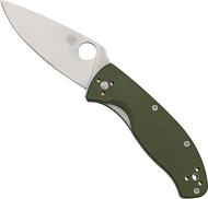 "Spyderco Tenacious C122GPGR Folding Knife, Satin 3.375"" Plain Edge Blade, Green G-10 Handle"