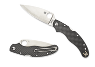"Spyderco Caly 3.5 C144CFPE Folding Knife, 3.5"" Plain Edge Blade, Black Carbon Fiber Handle"