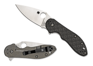 "Spyderco Domino C172CFTIP Flipper Folding Knife, 3.125"" Plain Edge Blade, Black Carbon Fiber - G-10 Laminate and Gray Titanium Handle"