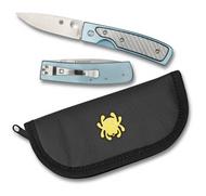 "Spyderco Centofante Memory C155TIP Folding Knife, 3.062"" Plain Edge Blade, Blue Titanium and Silver Twill Glass Fiber Handle"