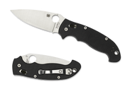 "Spyderco Manix 2 XL C95GP2 Folding Knife, Satin 3.875"" Plain Edge Blade, Black G-10 Handle"