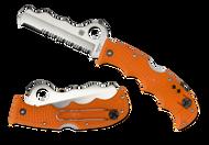 "Spyderco Assist C79PSOR Rescue Folding Knife, Satin 3.687"" Partially Serrated Blade, Orange FRN Handle"