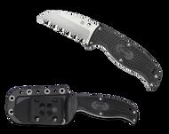 "Spyderco Enuff Sheepsfoot FB31SBK Fixed Blade Knife, 2.75"" Serrated Edge Blade, Black FRN Handle, Sheath"