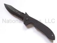 "Emerson Knives Horseman BTS Folding Knife, Black 3.4"" Partially Serrated 154CM Blade, Black G-10 Handle, Emerson ""Wave"" Opener"