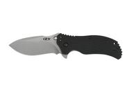 """Zero Tolerance 0350SW Assisted Opening Knife, Stonewashed 3.25"""" Plain Edge Blade, Black G-10 Handle"""