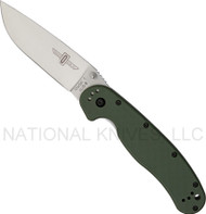 "Ontario RAT 1 O8848OD Folding Knife, Satin 3.6"" Plain Edge Blade, Olive Drab Handle"