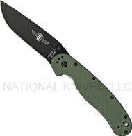 "Ontario RAT 1 O8846OD Folding Knife, Black 3.6"" Plain Edge Blade, Olive Drab Handle"