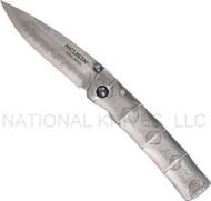 """Mcusta Take MC-33D Damascus Folding Knife , 2.8"""" Plain Edge Damascus Blade"""