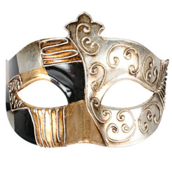 Warrior Masquerade Mask, Black Gold and Silver with Raised Silver Details