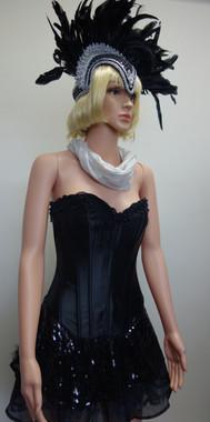 Black Showgirl Burlesque Costume for Hire
