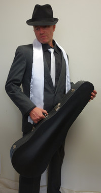 1920's Gangster Costume for Hire With Violin Case