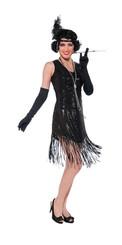Black Gatsby Flapper Dress - Sequins Size 14