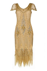 1920's Gold Flapper Dress for Hire - Size 26.